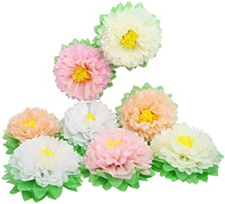 Mybbshower Large 11 Inch Paper Artifcial Flower for Wedding Floral Wall Outdoor Baby Shower Nursery Room Decoration Pack of 8