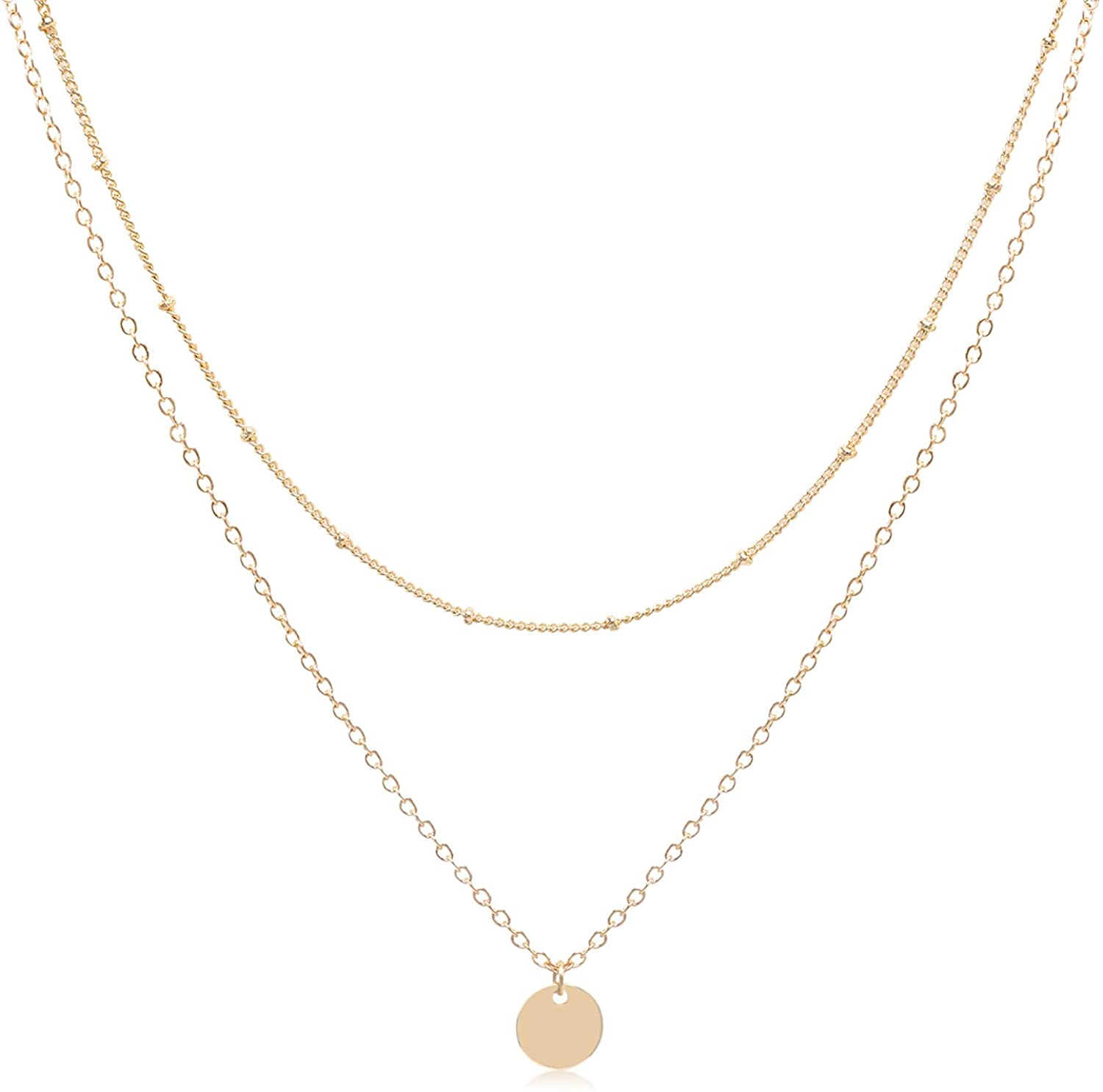 Aisansty Dainty Layered Choker Necklaces Handmade Coin Tube Star Pearl Pendant Multilayer Adjustable Layering Chain Gold Plated Necklaces Set for Women Girls