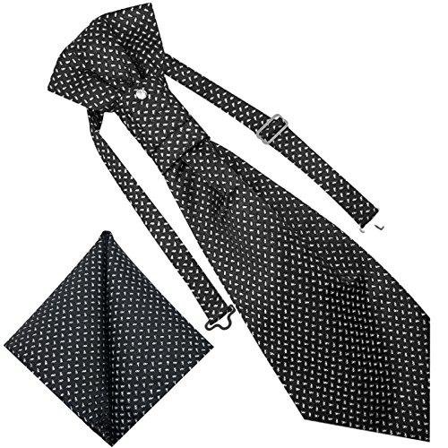GASSANI 3- SET Plastron | Schwarze breite Krawatte & Einstecktuch | Binder zum Anzug Verlobung Hochzeit | Hochzeitskrawatte fertig gebunden