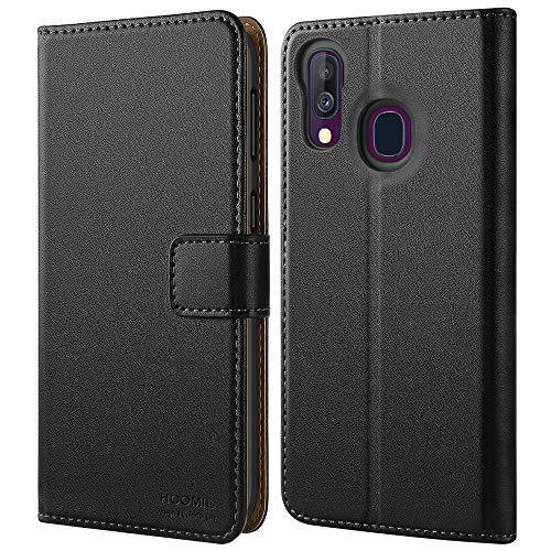 HOOMIL Handyhülle für Samsung Galaxy A40 Hülle, Premium Leder Flip Schutzhülle für Samsung Galaxy A40 Tasche, Schwarz