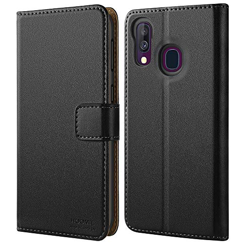 HOOMIL Samsung A40 Case, Galaxy A40 Wallet Case Premium Leather Folio Case, Flip Book Style Wallet Cover with TPU Shockproof, Stand, Card Slots and Cash Pocket for Samsung Galaxy A40 (Black)