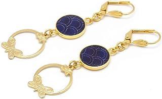 SEIGAIHA ottone dorato fine oro 24 carati onde del mare Giappone blu resina bianca farfalle creole regalo di natale festa ...
