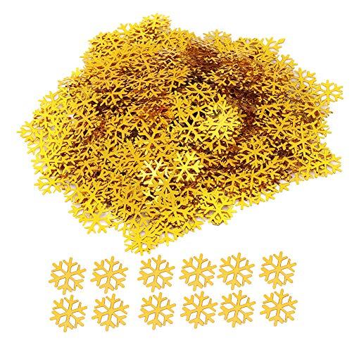 Ornamento bianco come la neve facile da riporre, decorazioni con fiocchi di neve dorati da 2 cm, fiocchi di neve glitterati per la decorazione della casa di Capodanno