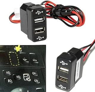 12 V 24 V Panel de salpicadero montaje dual puerto USB Insertar enchufe de alimentación cargador de salida LED Indicador