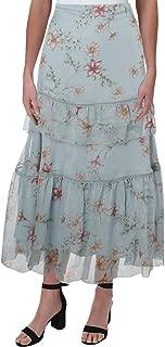 RALPH LAUREN Womens Blue Ruffled Floral Print Maxi Skirt US Size: 18