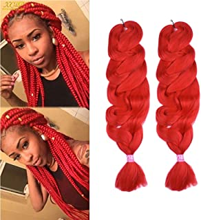 2 Packs X-pression Brading Hair Extension 100% Kankelon Jumbo African Box Braids Collection Crochet Synthetic Fiber Hair 165g/pack(84inch,color Red#)