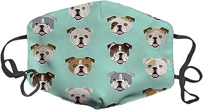 LuxSweet Face Mask,Fashion Anti-dust Face Mouth Mask Windproof Adjustable Washable Dust Mask (English Bulldog Faces Fabric Cute Mint Dog)