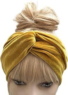 Women's Turban Headband Velvet Headwraps Gold Twist Hair Bands Boho Autumn Fall & Winter Accessories