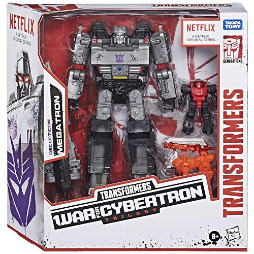 Transformers Netflix War for Cybertron Trilogy Voyager Class Megatron Battle 3-Pack with Pinpointer and Lionizer