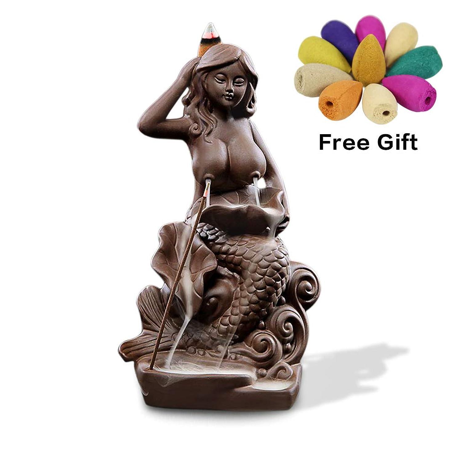 誇張する引用お願いします(Style9) - OTOFY Mermaid Ceramic Incense Holder Backflow Incense Burner with 10 Incense Cones Artwork Home Decor Figurine Aromatherapy Sculptures Fantasy Gifts