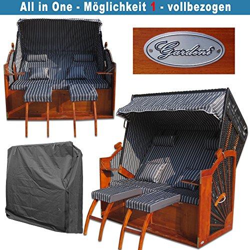 Volllieger Strandkorb XXL anthrazit günstig kaufen # 2 Bezüge ( Grundbezug + abnehm- und waschbarer Wechselbezug ) # inkl. Schutzhülle - 3