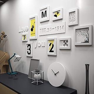 Feitengdaye 9多機能フォトフレーム、パインウッドセットクリエイティブコンビネーション、モダンなリビングルームフレームフォトウォールフォトフレーム/写真付き エレガントなフォトフレーム (Color : 白)