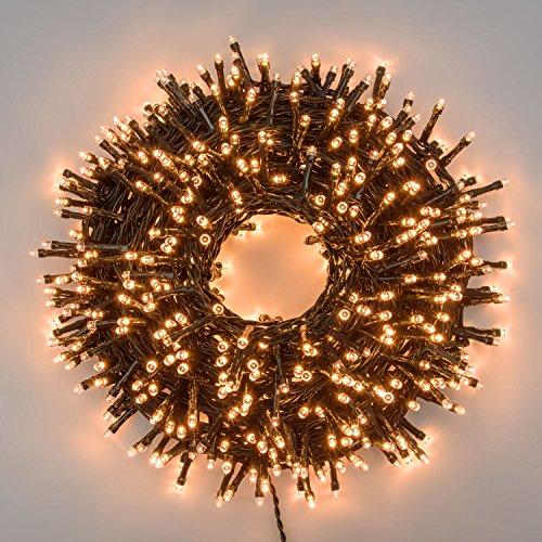 XMASKING Catena 24,5 m, 600 LED Bianco Caldo Traditional, con Memory Controller, Cavo Verde, 24V, Esterno