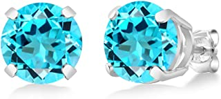 Gem Stone King Swiss Blue Topaz 925 Sterling Silver Basket Stud Earrings 5.10 Cttw Round Cut 8MM