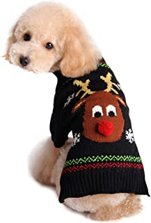 NACOCO Rudolph The Red Nosed Reindeer Sweater Pet Holiday Clothes Cat Sweater Dog Sweater Winter Clothing Teddy Poodle Autumn Winter Clothes Dog Clothes