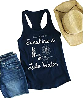 All I Need is Sunshine and Lake Water Tank Racerback Tank Tops for Women Casual Sleeveless Graphic T Shirts