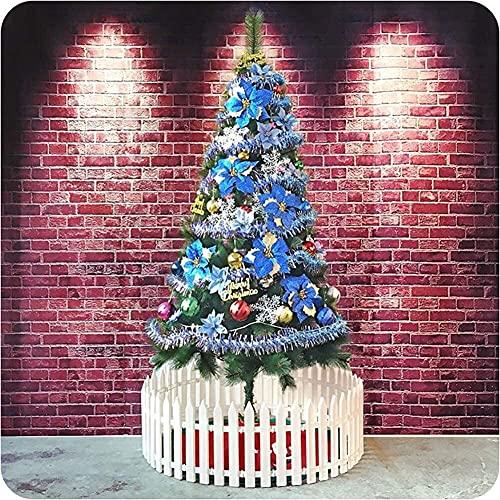 FHKSFJ Bolas Rojas y Doradas Artificiales preencendidas decoran el Soporte del árbol con Patas de Metal Que no encienden los árboles de Navidad Interiores y Exteriores(Color:Blue;Size:5Ft(150CM))