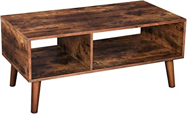 HOOBRO Coffee Table, Accent Cocktail Table with Storage Shelf for Living Room, Mid-Century Modern TV Table, Easy Assembly, Rustic Brown BF01KF01