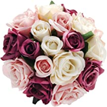 CQURE Artificial Flowers, Fake Flowers Silk Artificial Roses 18 Heads Bridal Wedding Bouquet for Home Garden Party Wedding Decoration (Mix Color×2)