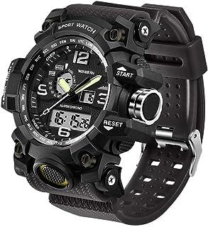 Men's Military Watch, Dual-Display Waterproof Sports Digital Watch Big Wrist for Men with Alarm