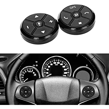 PolarLander Universal Wireless Car Steering Wheel Controller 4 Key Music DVD GPS Navigation Steering Wheel Radio Remote Control Buttons Black