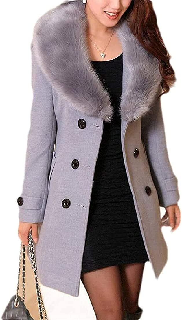 Women Winter Double Breasted Faux Fur Collar Belted Overcoat Pea Coat