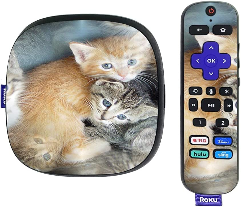 MightySkins Skin Compatible with Roku Ultra HDR 4K Streaming Media Player (2020) - Kittens   Protective, Durable, and Unique Vinyl Decal wrap Cover   Easy to Apply and Change Styles   Made in The USA