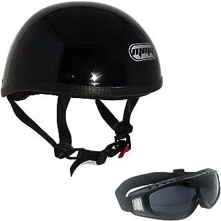 Motorcycle Skull Cap Half Helmet Cruiser DOT Approved - MEDIUM - Shiny Black with Smoked Goggles 885