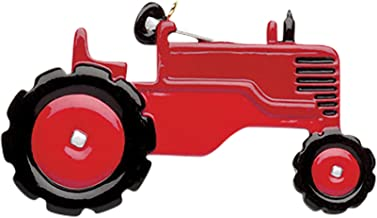 Personalized Red Tractor Christmas Tree Ornament 2019 - Toy Black Twin Tires Machine Field Trailer Farmer Boy John Harvester Toddler Construction Deer-e Holiday Year - Free Customization