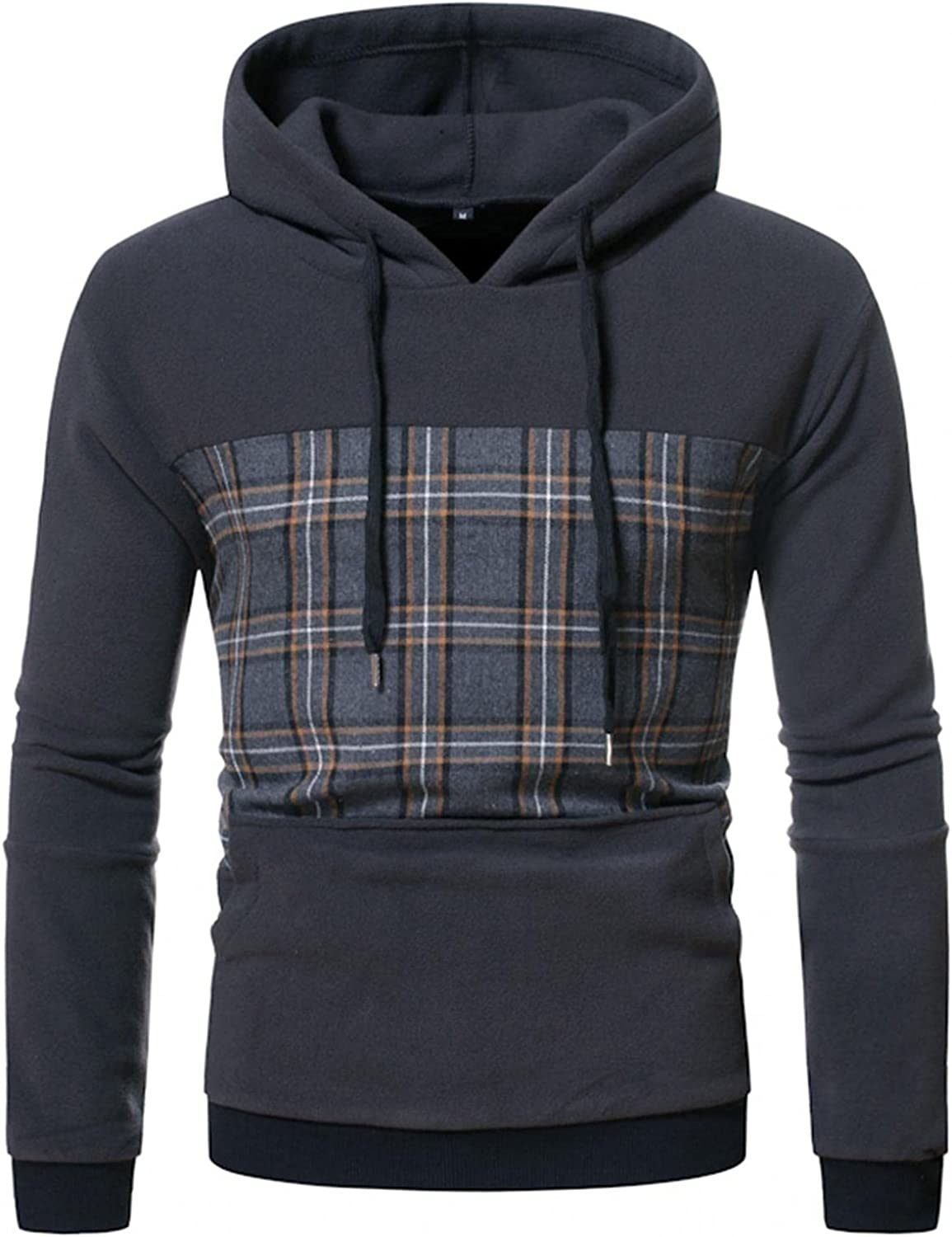 Qsctys Mens Sweatshirts Crewneck Fashion Patchwork Athletic Hoodies Sport Outdoor Casual Pullover Hooded Slim Fit Long Sleeve