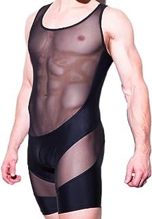 Moon Market Men's Slim Stretch Sheer Mesh Lingerie Bodysuit Jumpsuits Bodywear Underwear