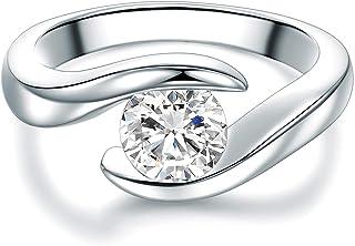 TRESOR 1934, anello di fidanzamento solitario da donna, in argento Sterling, con zircone bianco taglio a brillante