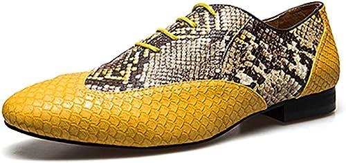 Leder Herren Kleid Schuhe Herren Business Oxfords Schuhe Hochzeit Schuhe Gelb Lace-up