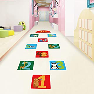 10 Number DIY Hopscotch Game Wall Stickers Floor Decals, Removable PVC Cute Forest Animals Digital Wall Stickers, Unique F...