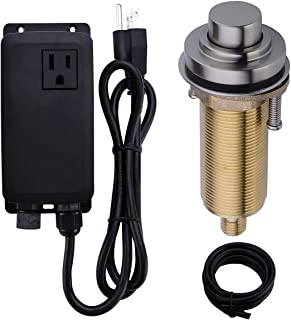 SINKINGDOM SinkTop Air Switch Kit with Brushed Nickel Long Button (Full Brass) for Garbage Disposal, Single Outlet