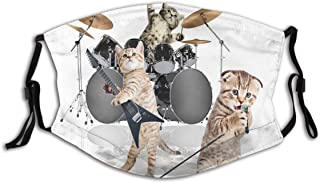 BYJHMB Cool Fancy Hard Cute Rocker Band of Kittens with Singer Guitarist Cats Print Cotton Washable Nose Wired Face Cover Filter Pocket Wide Cover with Filter