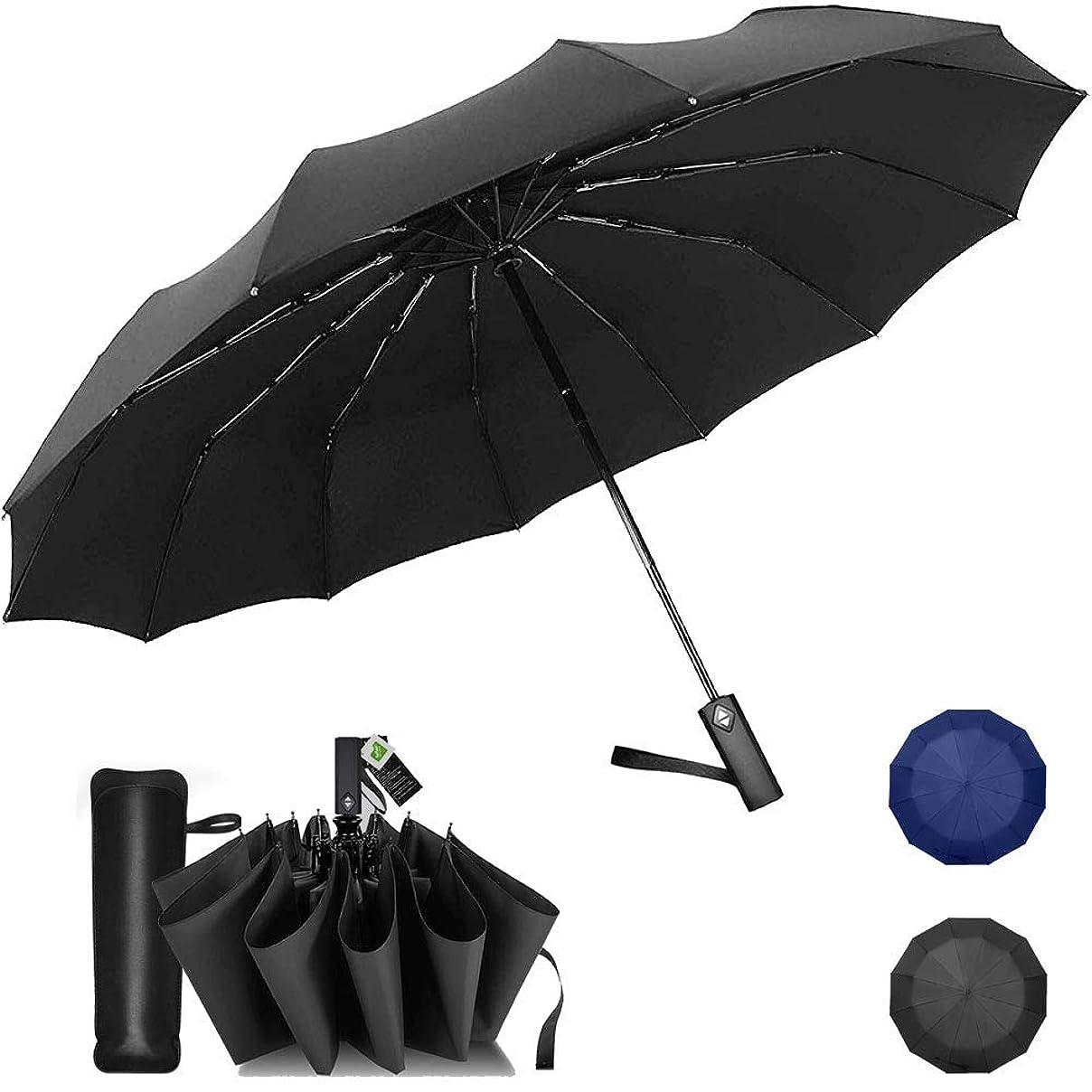 ポーチデッドロック糞折りたたみ傘 頑丈な12本骨 自動開閉 おりたたみ傘 メンズ 大きい 風に強い 高強度 折れにくい 超撥水 晴雨兼用 折り畳み傘 四角形ハンドル 収納ポーチ付き (ブラック)