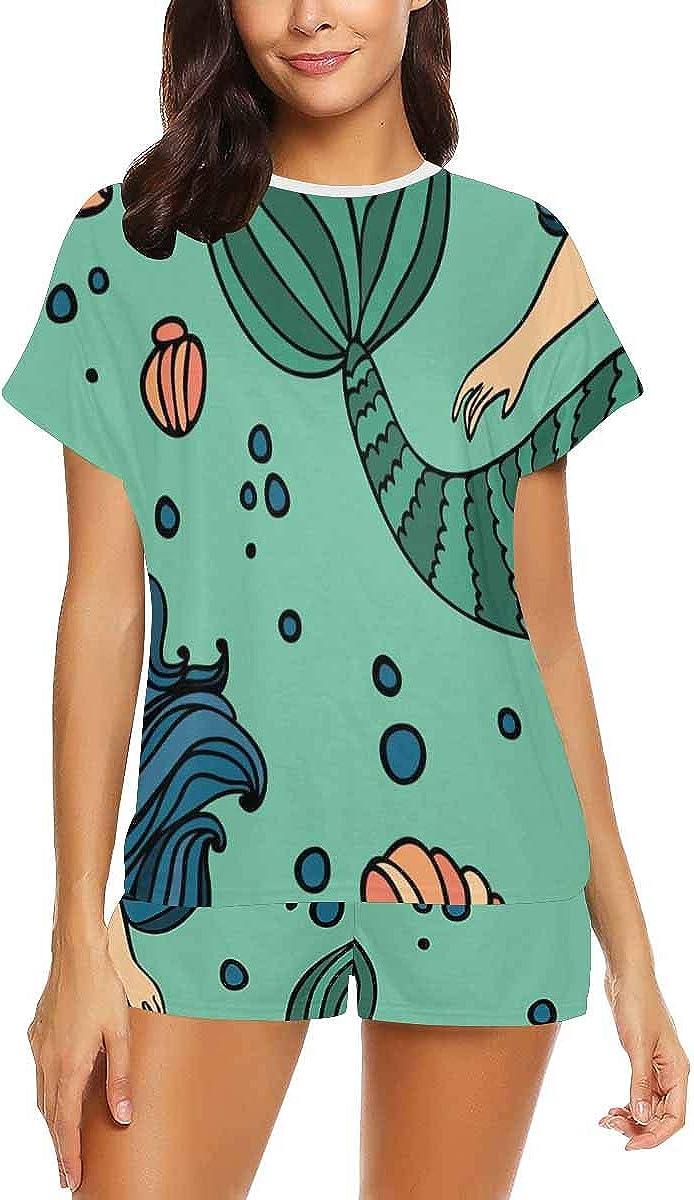 INTERESTPRINT Beautiful Pattern with Mermaid Women Sleepwear Short Sleeves Pajama Sets