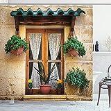 ABAKUHAUS Rustikal Duschvorhang, Altes Fenster & Blumen, Wasser Blickdicht inkl.12 Ringe Langhaltig Bakterie & Schimmel Resistent, 175 x 180 cm, Beige Grün