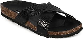 Women Snakeskin Open Toe Criss Cross Slide Footbed Sandal EF97 - Black