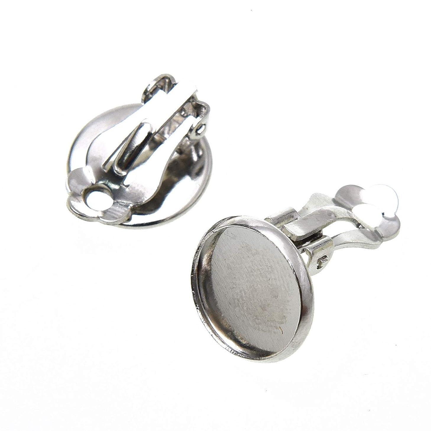 Monrocco 30Pcs Round Tray Bezel Blank Flat Back Bezel Earring Findings Tray Bezel Setting for Jewelry Accessories - 12mm