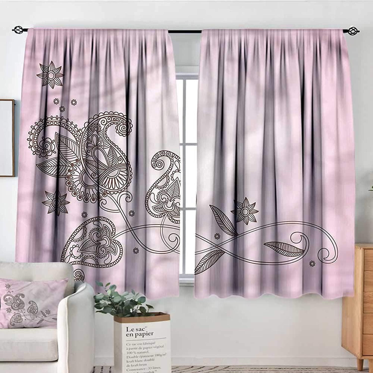 Sanring Henna,Bocking Ight Rod Curtains Patterned Leaf Motif 52 x63  for Baby Bedroom