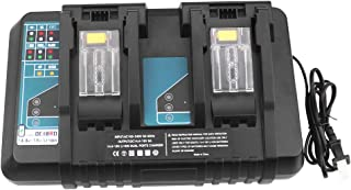 Updated 18V Lithium-Ion Dual Port Charger DC18RD for Makita 18V Battery Charger DC18RC DC18RA DC18SF Compatible with Makita 14.4V 18V LXT Battery BL1830 BL1840 BL1850 BL1860 BL1815 BL1430 BL1450 BL144