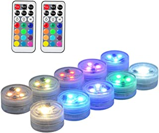 """10 Pack 1.5"""" Small Submersible LED Lights, Battery Operated LED Color Changing Craft Tea Light Underwater with Remote for ..."""