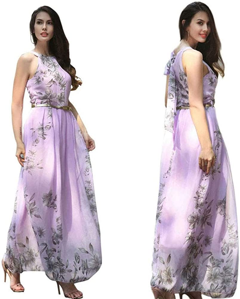 Arlington Mall Women's Casual Halter Neck Houston Mall Sleeveless Floral Long Dres Maxi