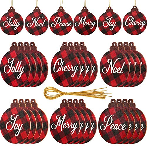 Jetec 24 Pieces Red Buffalo Plaid Christmas Ornaments Wood Hanging Decorations Wooden Sign Double-Sided Hanging Ornaments for Christmas Decoration Holiday Home Front Door Farmhouse Decor