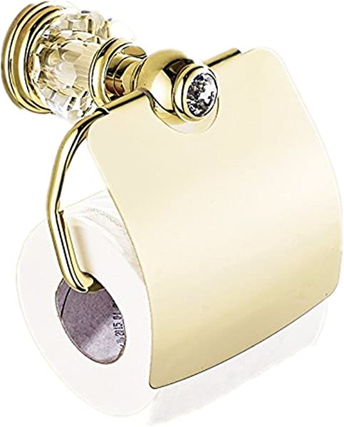 AUSWIND Antique Gold Toilet Paper Holder Polish Crystal Brass Toilet Paper Holder Wall Mounted Bathroom Accessories