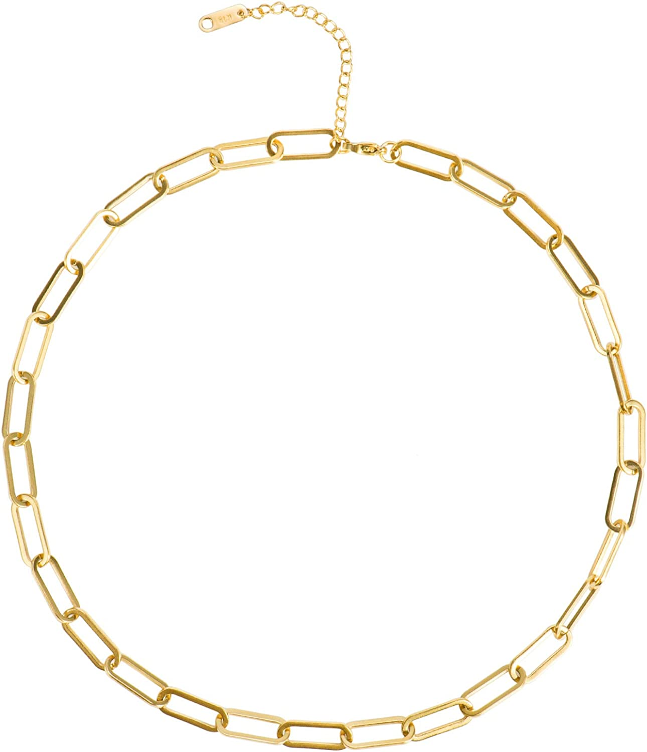 Aurelia Mae 18K Gold Large Paperclip Chain Necklace Chunky Necklaces for Layering Gold Link Choker
