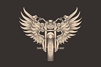 Elegant Motorcycle with Wings Monochrome Illustration Cool Wall Decor Art Print Poster 36x24