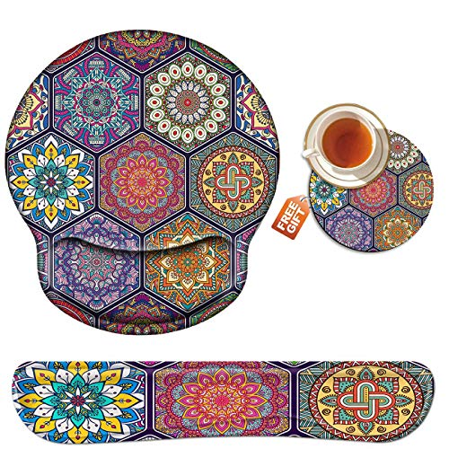 Wrist Rest for Computer Keyboard and Mouse Pad with Wrist Support Gel, Colorful Mandala Ergonomic Mousepad Comfortable Keyboard Pad Set Non-Slip Base Come with A Cute Coaster